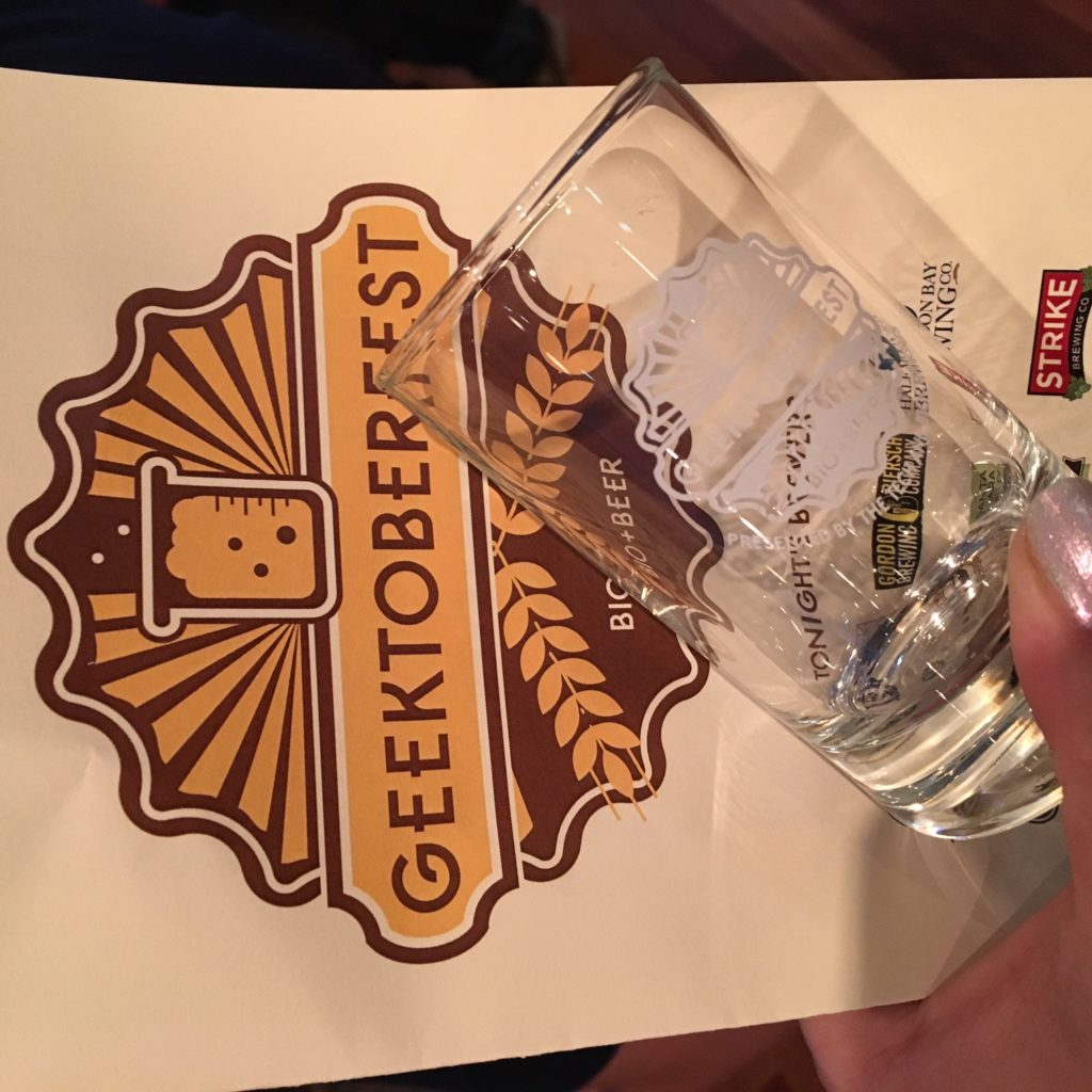 Geektoberfest Glass and sign