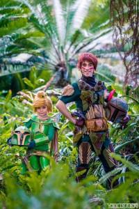 Cosplayer Miley TinyThunder as Tinkerbell Fett and Chris Villain as Pan Fett.