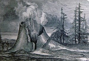 An artist's depiction of one of the astonishing sights—a geyser cone— described by Langford in Scribner's Monthly.