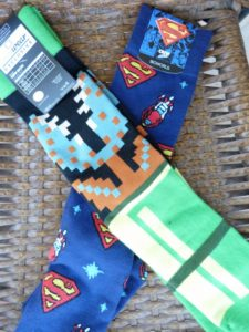 Superman and Super Mario Brothers Socks